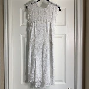 White FREE PEOPLE backless lace/embroidery dress M